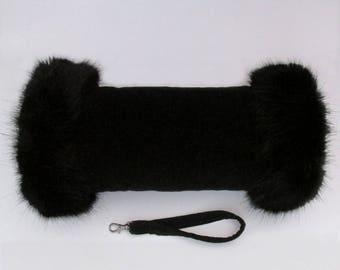Black Velvet Luxury Hand Muff with Black Faux Fur Trim