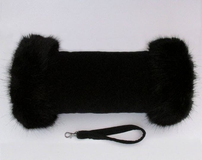 Black Velvet Luxury Hand Muff with Black Faux Fur Trim