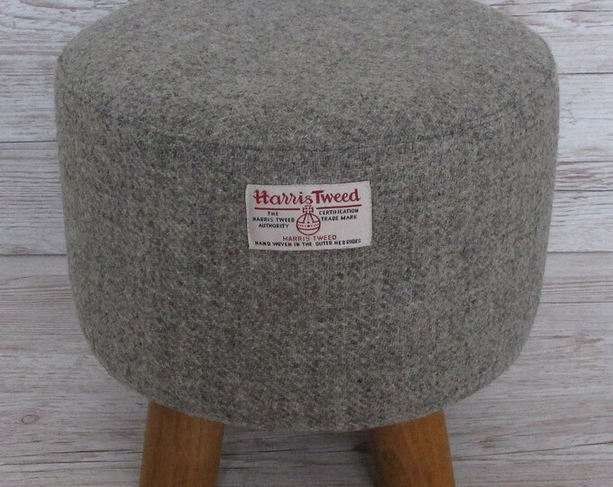 Harris Tweed Soft Grey Marl Hand Covered Footstool