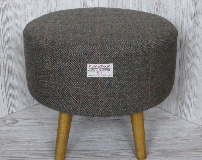 Harris Tweed Large Woodland Herringbone Hand Covered Footstool