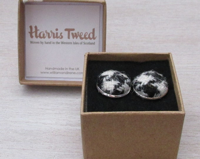 Harris Tweed Black Houndstooth Handmade Boxed Cufflinks