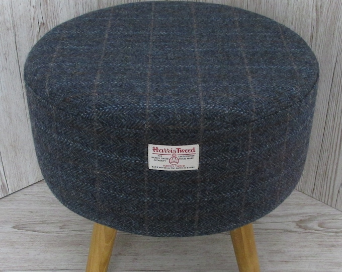 Harris Tweed Blue Mix Herringbone Hand Covered Footstool