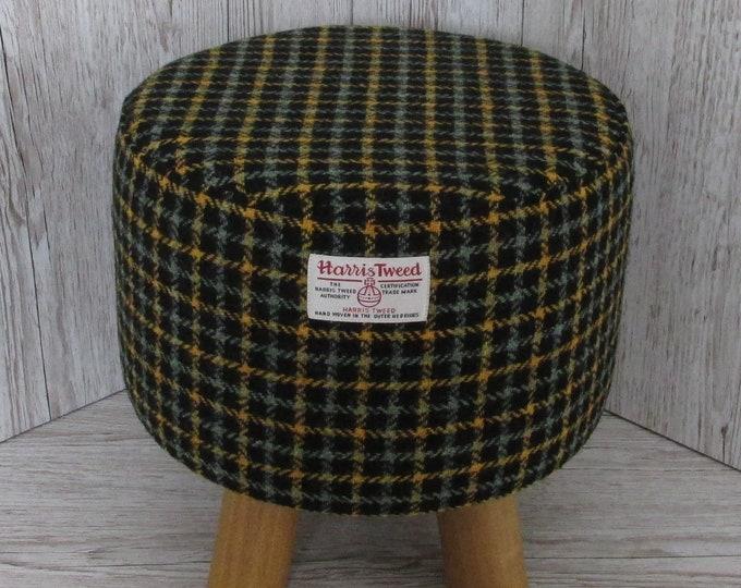 Harris Tweed Sage & Mustard Check Hand Covered Footstool