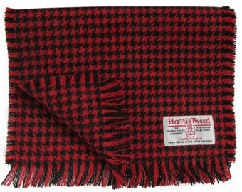 Harris Tweed Red & Black Houndstooth Luxury Pure Wool Neck Scarf