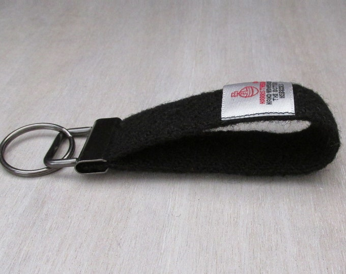 Harris Tweed Jet Black Pure Wool Looped Keyring On Chunky Metal Key Fob