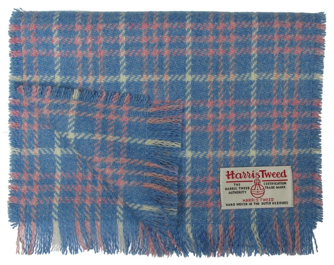 Harris Tweed Blue, Pink & White Tartan Check Luxury Pure Wool Neck Scarf