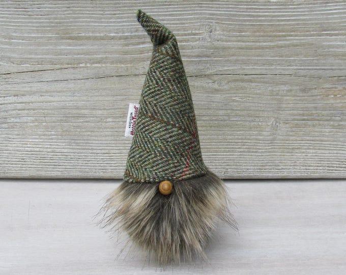 Harris Tweed Green & Fawn Herringbone Scandinavinan Tomte with Minky Beige Bushy Beard