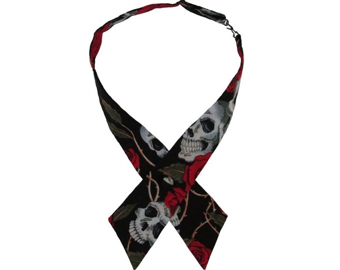 Black & Red Skulls and Roses Adjustable Crossover Bow Tie
