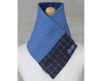 Harris Tweed Denim Blue & Red Check Wool Neck Warmer Scarf with Button Detail