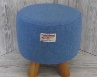 Harris Tweed Denim Blue Hand Covered Footstool