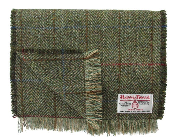 Harris Tweed Fawn & Green Herringbone Luxury Pure Wool Neck Scarf