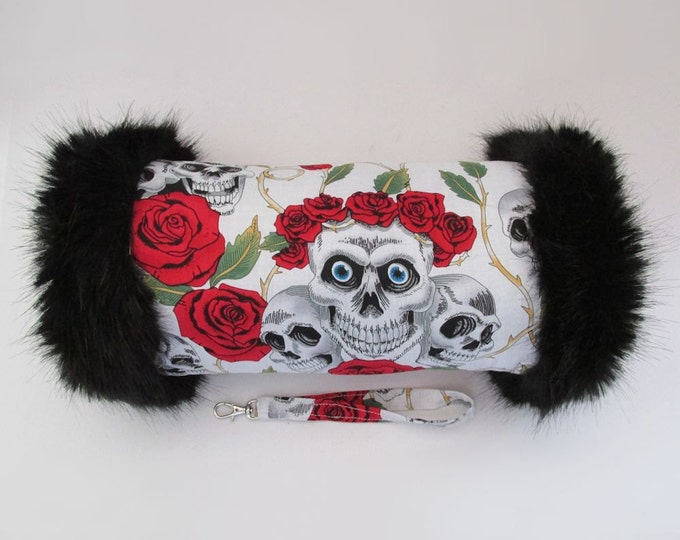 White Skulls & Roses Hand Muff with Black Faux Fur Trim
