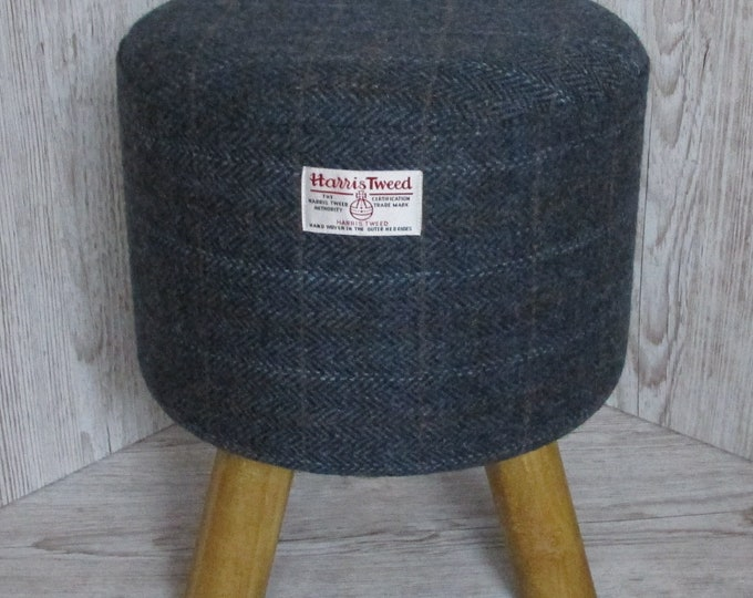Harris Tweed Blue Mix Herringbone Hand Covered Footstool