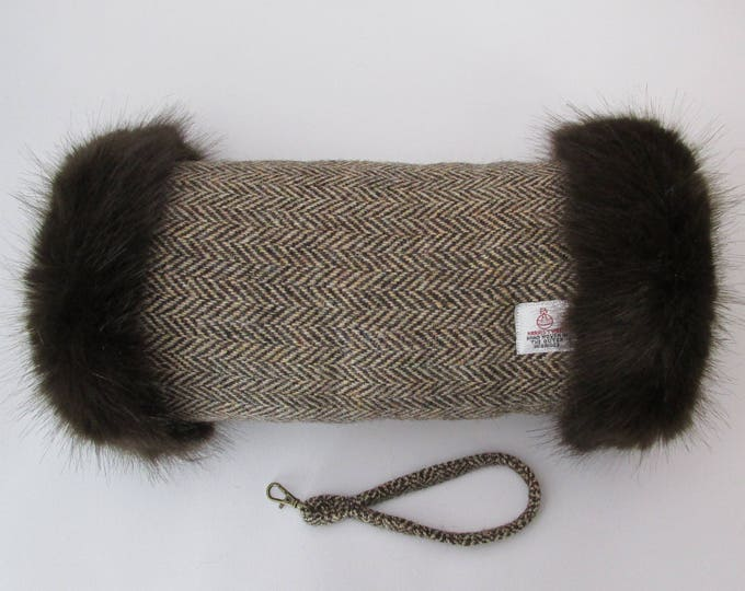 Harris Tweed Brown & Golden Beige Herringbone Hand Muff with Chocolate Faux Fur Trim