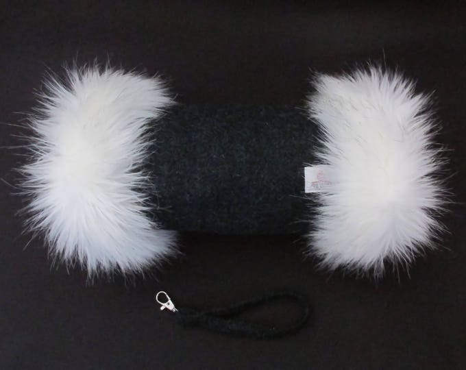 Harris Tweed Diesel Green Hand Muff with Ivory Faux Fur Trim