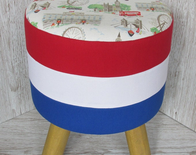 London Themed Cath Kidston Hand Covered Footstool