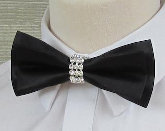 Black Satin Luxury Bow Tie with Diamante & Silver Band