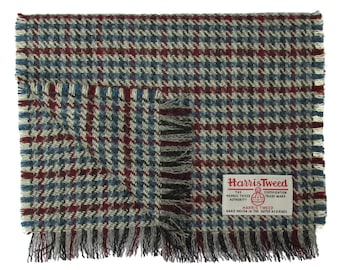 Harris Tweed Wine Red, Blue & Grey Houndstooth Luxury Pure Wool Neck Scarf
