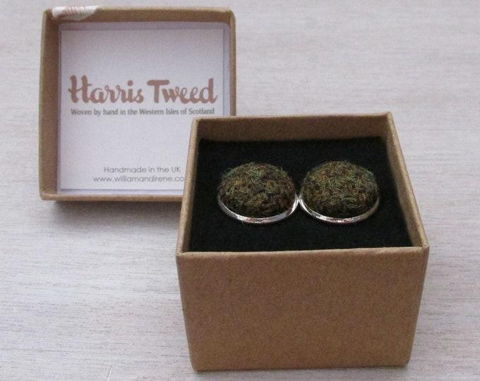 Harris Tweed Moss Green Handmade Boxed Cufflinks