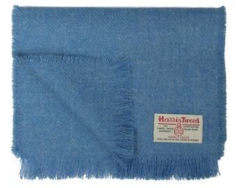 Harris Tweed Denim Blue Pure Wool Neck Scarf