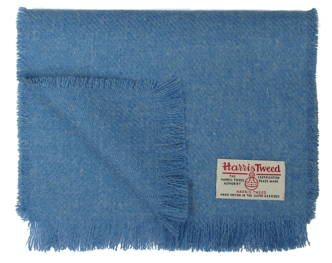 Harris Tweed Denim Blue Pure Wool Neck Scarf