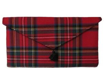 Royal Stewart Pure Wool Red Tartan Clutch Bag