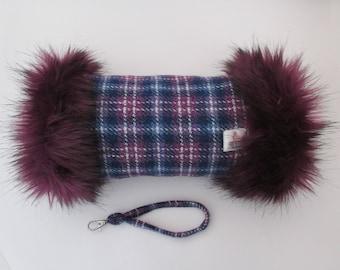 Harris Tweed Purple & Blue Check Hand Muff with Aubergine Faux Fur Trim