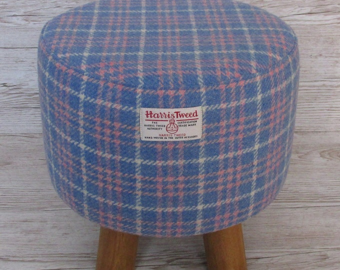 Harris Tweed Blue, Pink & White Tartan Check Hand Covered Footstool