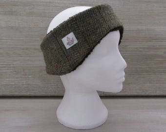 Harris Tweed Green & Fawn Herringbone Luxury Ear Warmer Headband