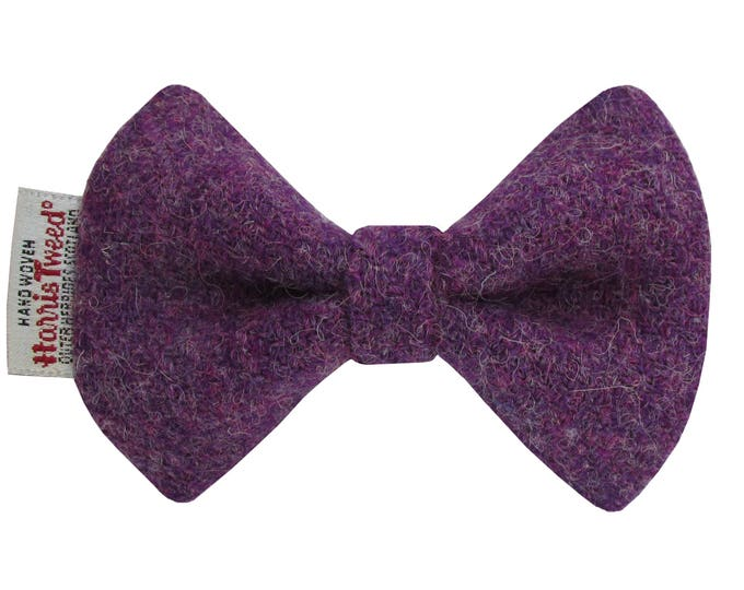 Harris Tweed Purple Heather Designer Dog Bow Tie