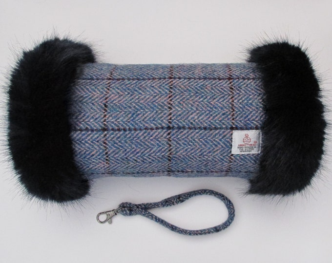 Harris Tweed Pink & Blue Herringbone Hand Muff with Navy Faux Fur Trim