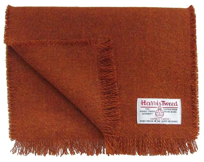 Harris Tweed Burnt Orange Pure Wool Neck Scarf