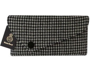 Harris Tweed Asymmetric Black Houndstooth Clutch Bag