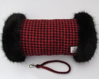 Harris Tweed 100% Wool Red Houndstooth Hand Muff with Black Faux Fur Trim