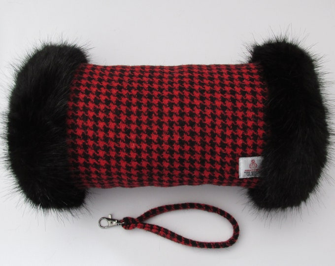 Harris Tweed 100% Wool Red Houndstooth Hand Muff with Black Faux Fur Trim