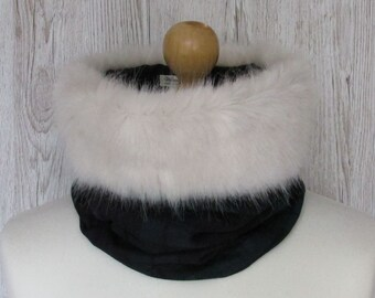 Black Watch Pure Wool Tartan Cream Luxury Faux Fur Trimmed Cowl Neck Scarf