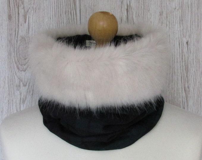 Black Watch Pure Wool Tartan Cream Luxury Faux Fur Trimmed Cowl Neck Scarf