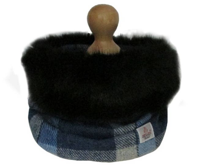 Harris Tweed Blue & Grey Tartan Pure Wool Cowl Neck Scarf with Black Faux Fur Trim