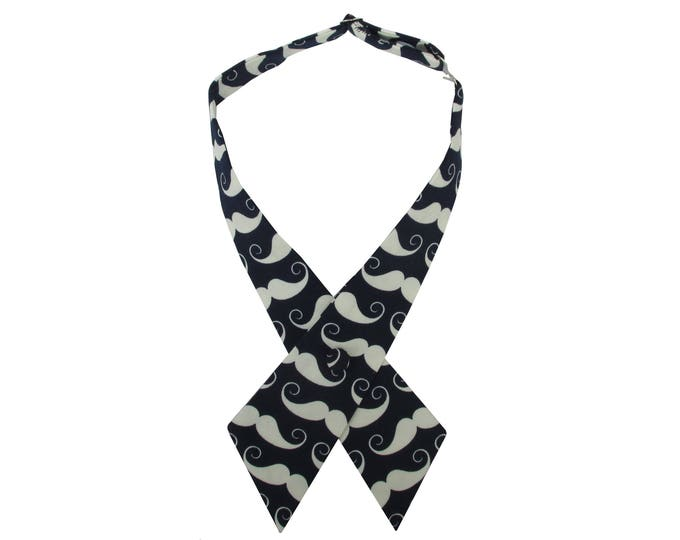 Moustache Design Navy & Ivory Pre Tied Adjustable Crossover Bow Tie
