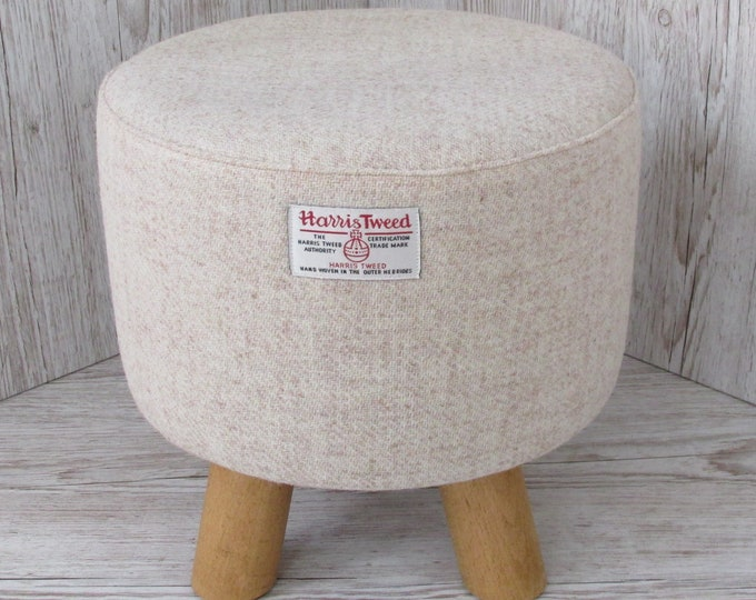Harris Tweed Oatmeal Beige Hand Covered Footstool