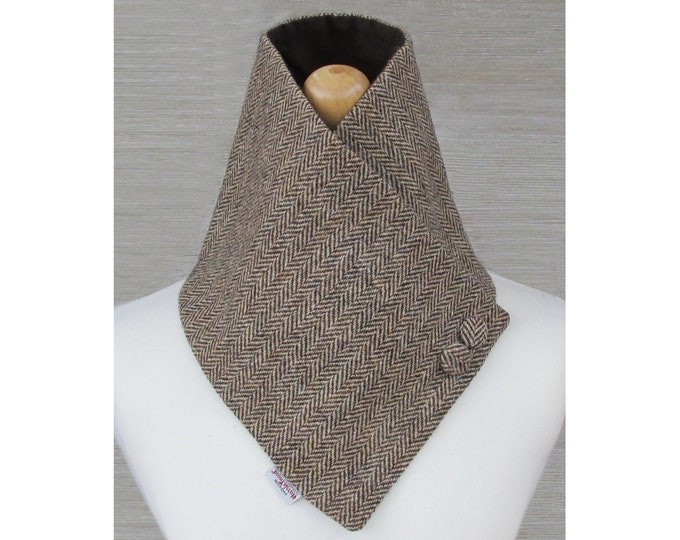 Harris Tweed Brown & Golden Beige Herringbone Wool Neck Warmer Scarf with Button Detail
