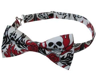 Flaming Skulls Pre Tied Bow Tie