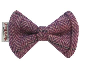 Harris Tweed Lilac Herringbone Designer Dog Bow Tie