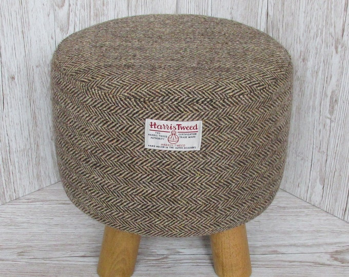 Harris Tweed Brown & Golden Beige Herringbone Hand Covered Footstool
