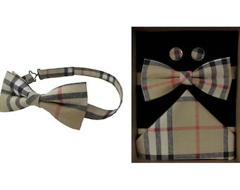 Beige Check Bow & Boxed Gift Set