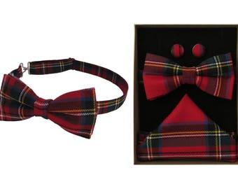 Pure Wool Royal Stewart Tartan Bow Tie & Boxed Gift Set