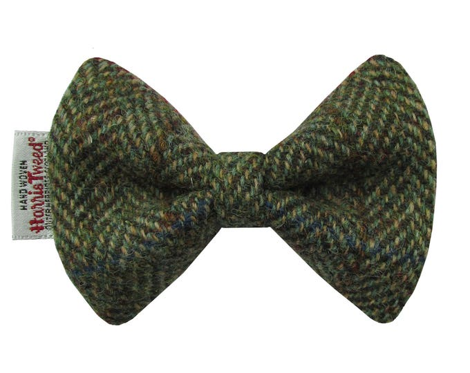 Harris Tweed Green & Fawn Herringbone Designer Dog Bow Tie
