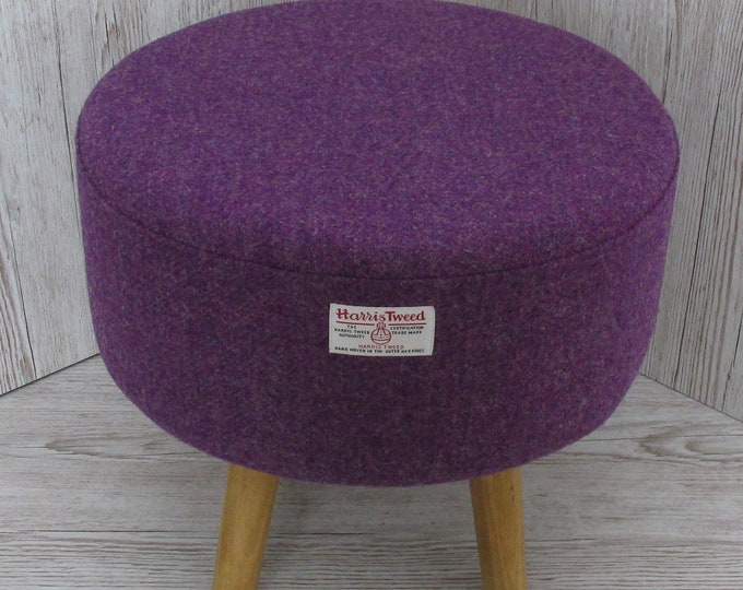 Harris Tweed Rich Purple Hand Covered Footstool