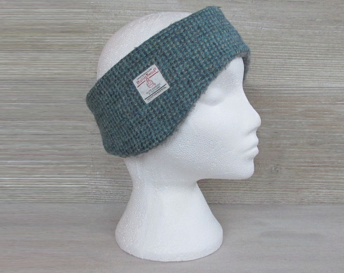 Harris Tweed Blue & Fawn Twill Luxury Ear Warmer Headband