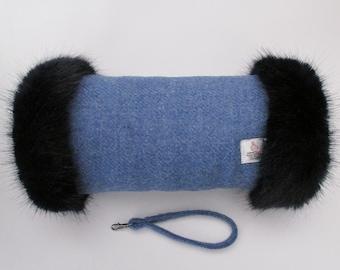 Harris Tweed 100% Wool Denim Blue Hand Muff with Navy Faux Fur Trim